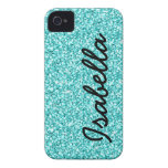 GIRLY TEAL GLITTER PRINTED PERSONALIZED iPhone 4 Case-Mate CASE