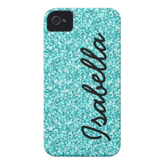 GIRLY TEAL GLITTER PRINTED PERSONALIZED iPhone 4 COVER
