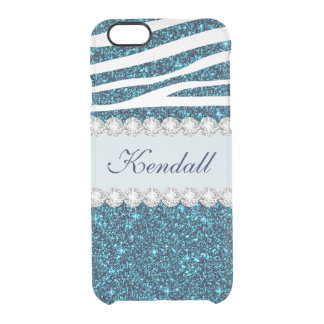Girly Teal Glitter Zebra Clearly iPhone 6 Case