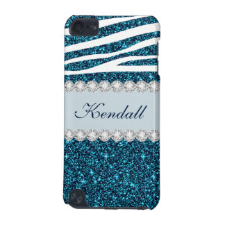 Girly Teal Glitter Zebra Modern 5G iPod Touch Case