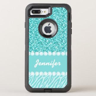 Girly, Teal Glitter, Zebra Stripes OtterBox Defender iPhone 7 Plus Case