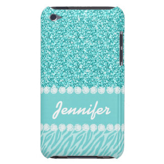 Girly Teal Glitter Zebra Stripes Personalized iPod Touch Case-Mate Case