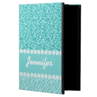 Girly, Teal Glitter, Zebra Stripes Personalized Case For Ipad Air at Zazzle