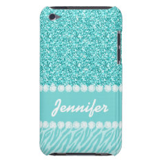 Girly, Teal Glitter, Zebra Stripes Personalized Case-mate Ipod Touch Case at Zazzle