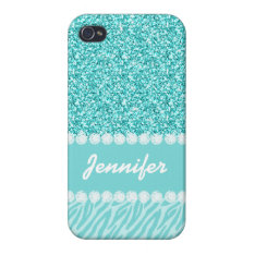 Girly, Teal Glitter, Zebra Stripes Personalized Cover For Iphone 4 at Zazzle