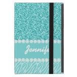Girly, Teal Glitter, Zebra Stripes Personalized Cover For iPad Mini