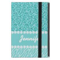 Girly, Teal Glitter, Zebra Stripes Personalized iPad Mini Cases