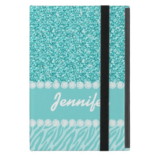 Girly, Teal Glitter, Zebra Stripes Personalized iPad Mini Cases