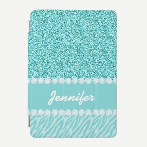Girly, Teal Glitter, Zebra Stripes Personalized iPad Mini Cover