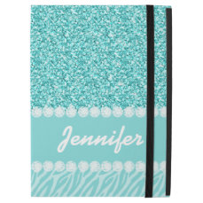 "Girly, Teal Glitter, Zebra Stripes Personalized iPad Pro 12.9"" Case"
