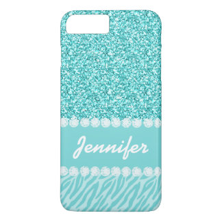 Girly, Teal Glitter, Zebra Stripes Personalized iPhone 8 Plus/7 Plus Case