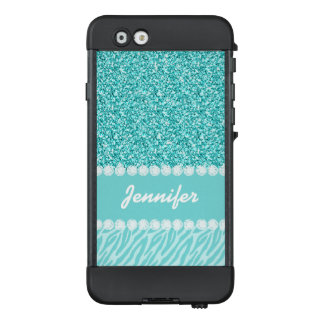 Girly, Teal Glitter, Zebra Stripes Personalized LifeProof® NÜÜD® iPhone 6 Case