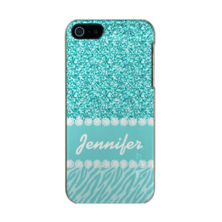 Girly, Teal Glitter, Zebra Stripes Personalized Metallic Phone Case For iPhone SE/5/5s