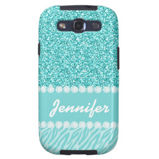 Girly, Teal Glitter, Zebra Stripes Personalized Samsung Galaxy S3 Case