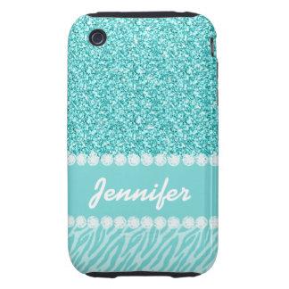 Girly, Teal Glitter, Zebra Stripes Personalized Tough iPhone 3 Case