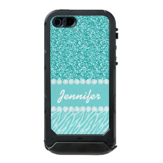 Girly, Teal Glitter, Zebra Stripes Personalized Waterproof Case For iPhone SE/5/5s