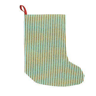 Girly Teal Gold Glitter Photo Print Small Christmas Stocking