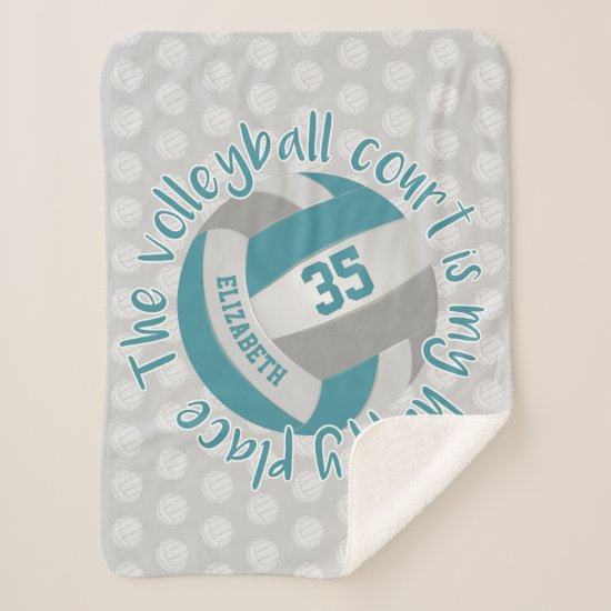 girly teal gray volleyball court my happy place sherpa blanket