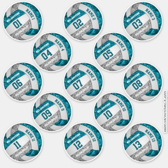 girly teal gray volleyball player names set of 13 sticker