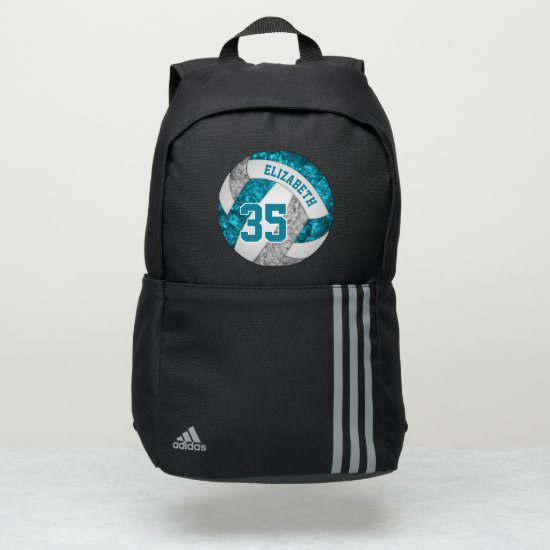 girly teal gray white sporty volleyball adidas backpack