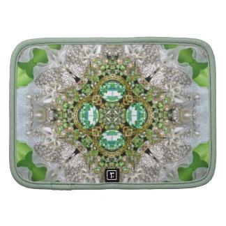 girly teal green faux diamond chic bling organizer