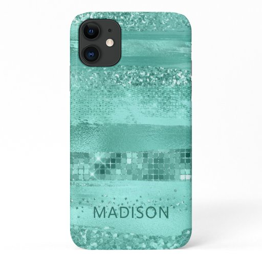 Girly Teal Modern Glitter Sparkle Chic Name iPhone 11 Case