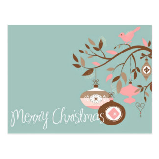 Girly Teal, Pink & Brown Merry Christmas Postcard