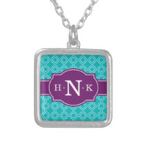 Girly Teal Quatrefoil Pattern Purple Monogram Silver Plated Necklace