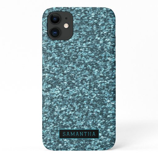 Girly Teal Sparkle Sequins Monogram iPhone 11 Case