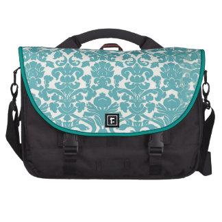 Girly Teal Vintage Damask Pattern Laptop Bags