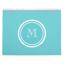 Girly Teal White Polka Dots, Your Monogram Initial Calendar