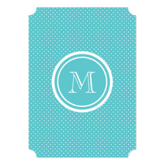 Girly Teal White Polka Dots, Your Monogram Initial Card