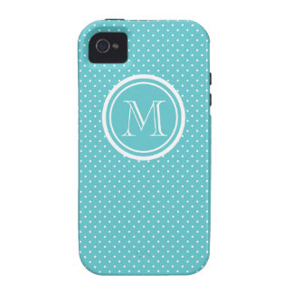 Girly Teal White Polka Dots, Your Monogram Initial Vibe iPhone 4 Cases