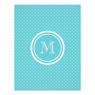 Girly Teal White Polka Dots, Your Monogram Initial Personalized Flyer