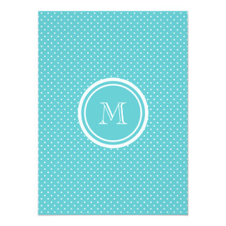 Girly Teal White Polka Dots, Your Monogram Initial 5.5x7.5 Paper Invitation Card
