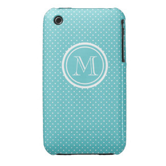 Girly Teal White Polka Dots, Your Monogram Initial iPhone 3 Case-Mate Case