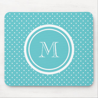 Girly Teal White Polka Dots, Your Monogram Initial Mouse Pad