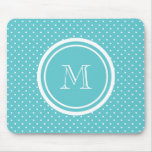 Girly Teal White Polka Dots, Your Monogram Initial Mousepad