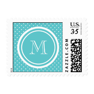 Girly Teal White Polka Dots, Your Monogram Initial Postage