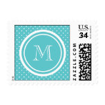 Girly Teal White Polka Dots, Your Monogram Initial Stamps