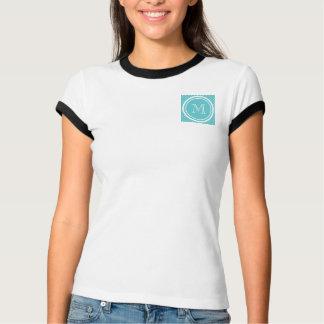 Girly Teal White Polka Dots, Your Monogram Initial Tee Shirt