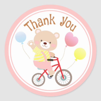 Girly Teddy Bear on Bicycle Thank You Stickers
