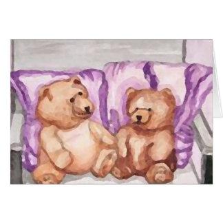 Girly Teddy Bear Talk Purple Lilac Grey Lavender Card