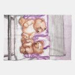 Girly Teddy Bear Talk Purple Lilac Grey Lavender Hand Towels