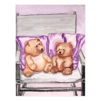 Girly Teddy Bear Talk Purple Lilac Grey Lavender Postcard