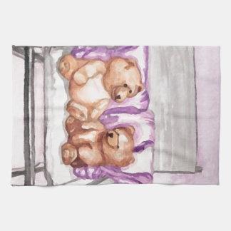 Girly Teddy Bear Talk Purple Lilac Grey Lavender Towel
