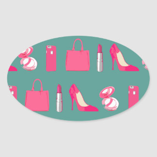 Girly things design oval sticker