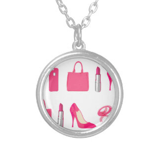 Girly things design silver plated necklace