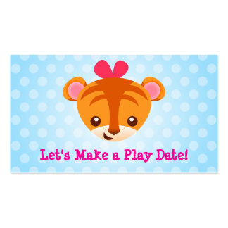Girly Tiger Playdate Card Double-Sided Standard Business Cards (Pack Of 100)