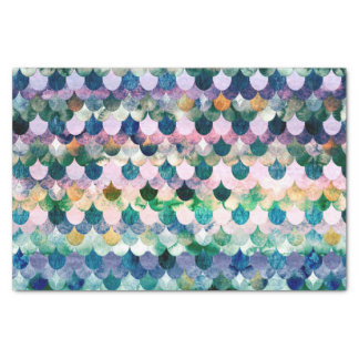 Girly Trend Blue Mermaid Fish Scales Tissue Paper